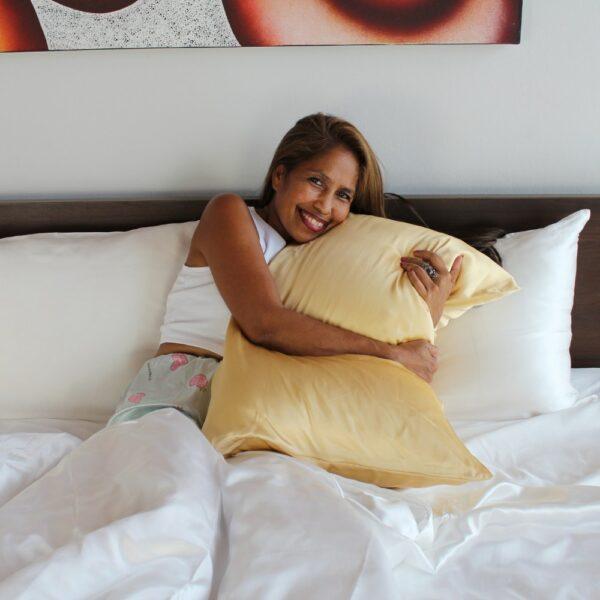 yellow mulberry silk pillow case